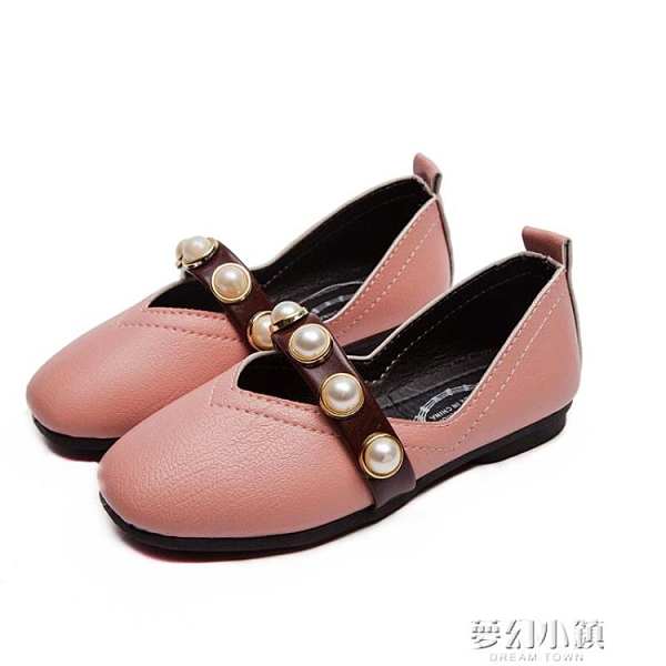 女童小皮鞋春秋新款兒童軟底童鞋珍珠單鞋中大童公主鞋豆豆鞋 夢幻小鎮