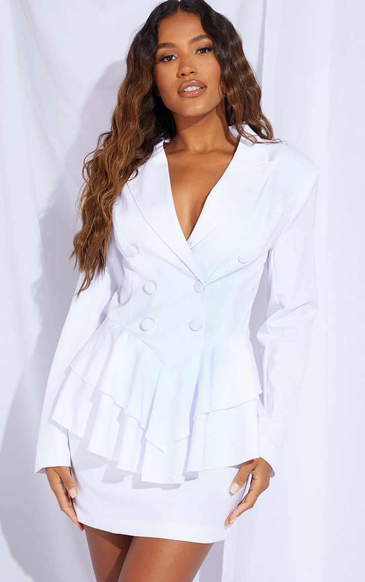 White Peplum Frill Blazer Dress