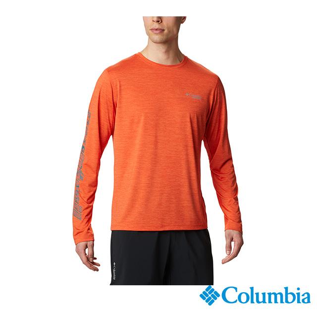 Columbia哥倫比亞 男款-野跑防曬15快排長袖上衣-橘黃  UAE02240OY