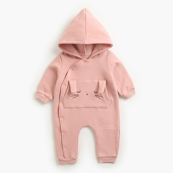 耳朵造型表情加絨連帽長袖包屁衣 粉色兔子 包屁衣 連身衣 嬰兒裝