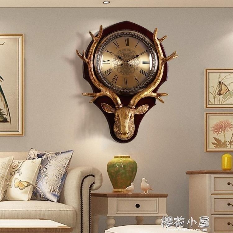 鹿頭掛鐘北歐歐式創意客廳大氣鐘錶美式家用時尚個性石英鐘實木鐘