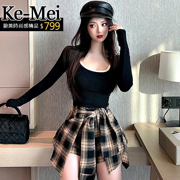 克妹Ke-Mei【ZT62802】神器,超性感格紋腰綁帶褲裙+撞色低胸上衣套裝
