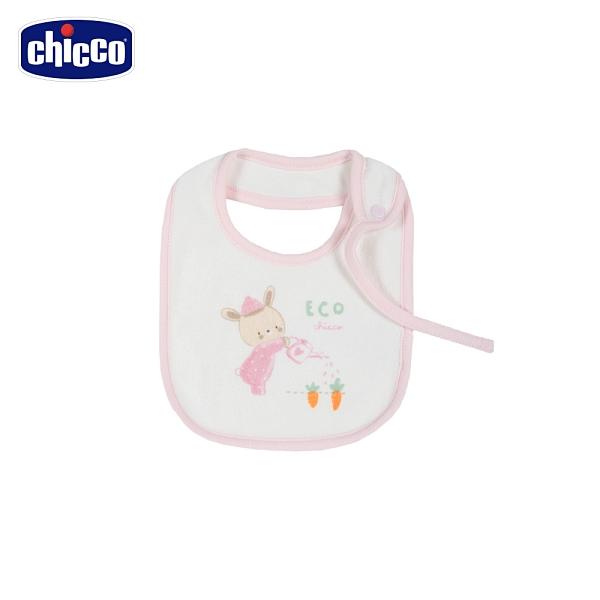 chicco- 粉彩-印小熊毛巾布圍兜-粉