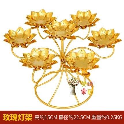 供佛燈 七星酥油燈座雙片蓮花燈架佛燈供燈合金蠟燭台佛教供奉用品