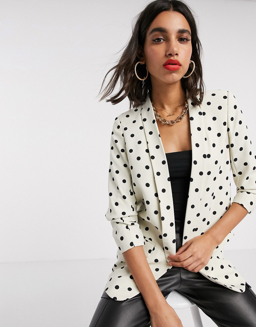 Stradivarius ruched sleeve blazer in polka dots-Multi