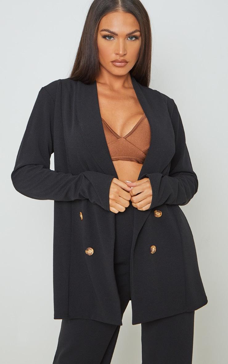 Black Oversized Shoulder Pad Button Detail Blazer