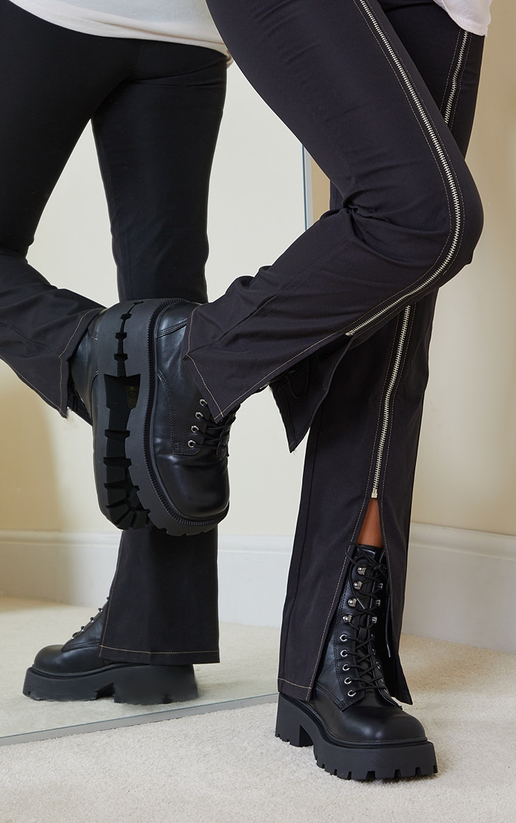 Black Chunky Lace Up Hiker Biker Boots