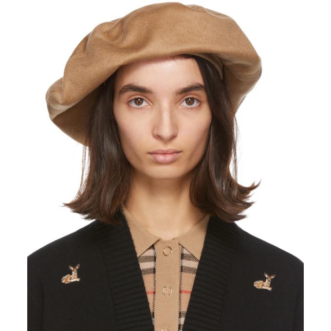 Burberry 驼色羊绒贝雷帽