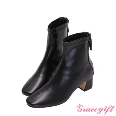 Grace gift-素面車線方頭低跟短靴 黑