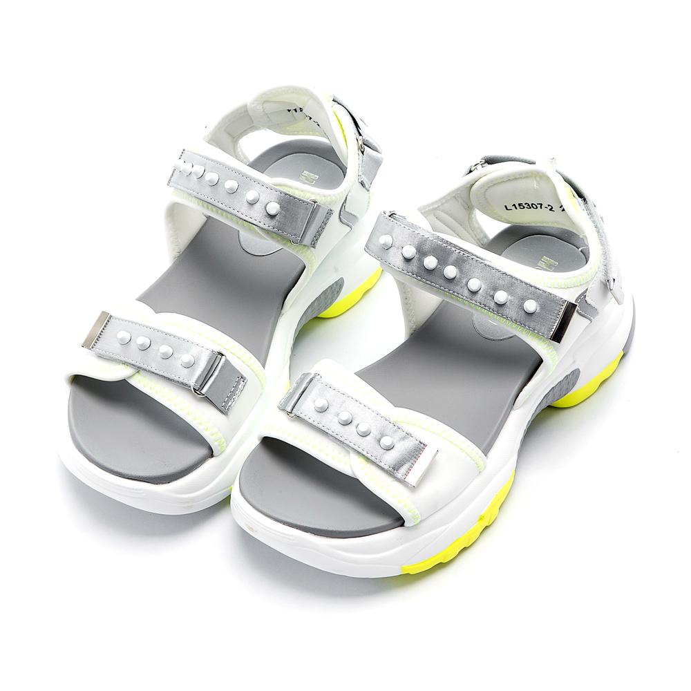 Hong Wa 雙色設計特色防水厚底涼鞋 - 灰