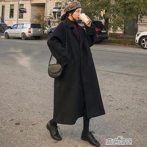 黑色毛呢外套女中長款秋冬季韓版赫本風呢子大衣百搭加厚【全館免運】