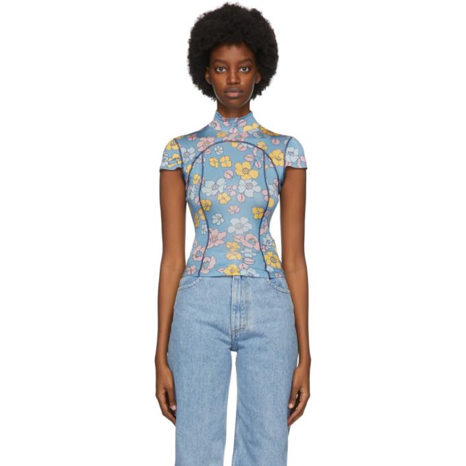 Eckhaus Latta SSENSE 独家发售蓝色 Floral Sport T 恤