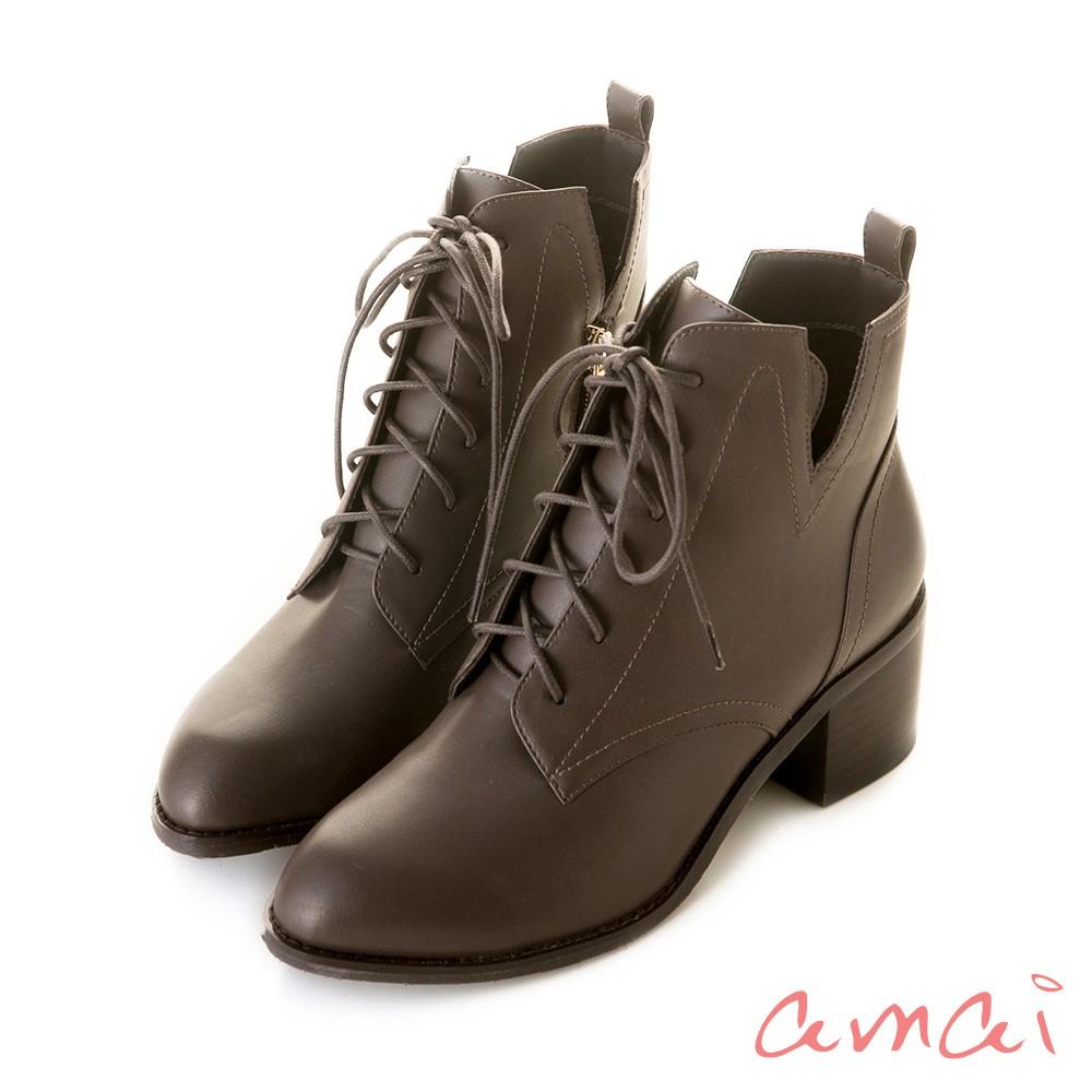 amai 《Olivia奧麗薇亞》率性綁帶V口高跟短靴 灰 GW18-105GY【預購01/29出貨】