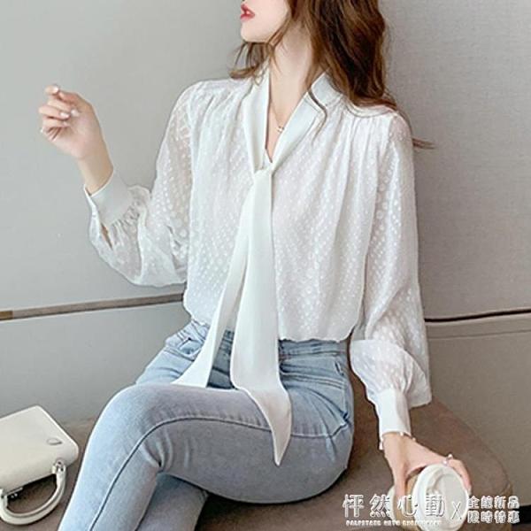 2020秋裝新款蝴蝶結系帶寬松長袖雪紡衫女職業洋氣白襯衫氣質上衣 怦然新品