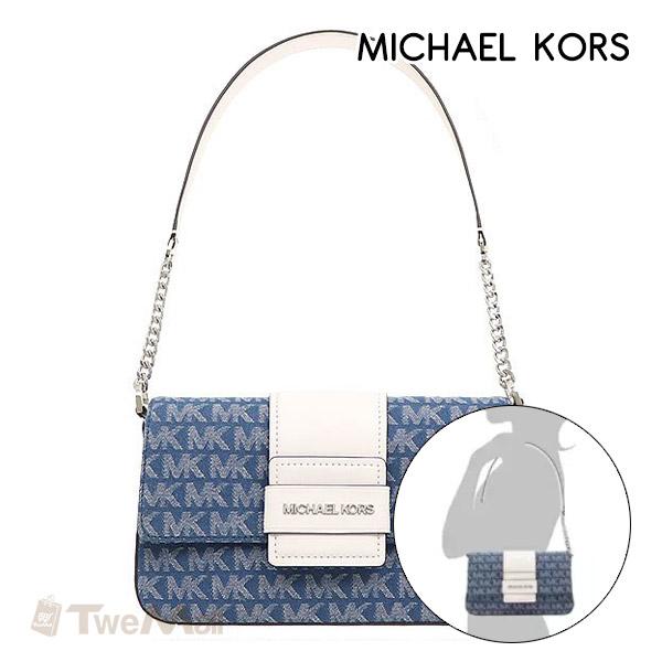 MICHAEL KORS MK 織布LOGO肩背包(藍)