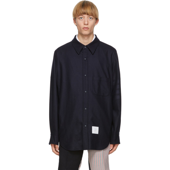 Thom Browne 海军蓝 4-Bar Snap Front 法兰绒衬衫夹克