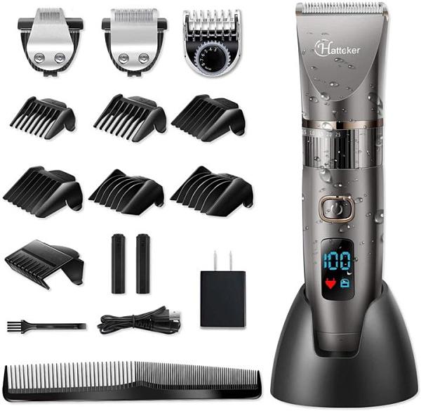 【日本代購】HATTEKER電動Varican剪髮器無線可充電可水洗LED Varican 修剪器  3角色修飾套裝