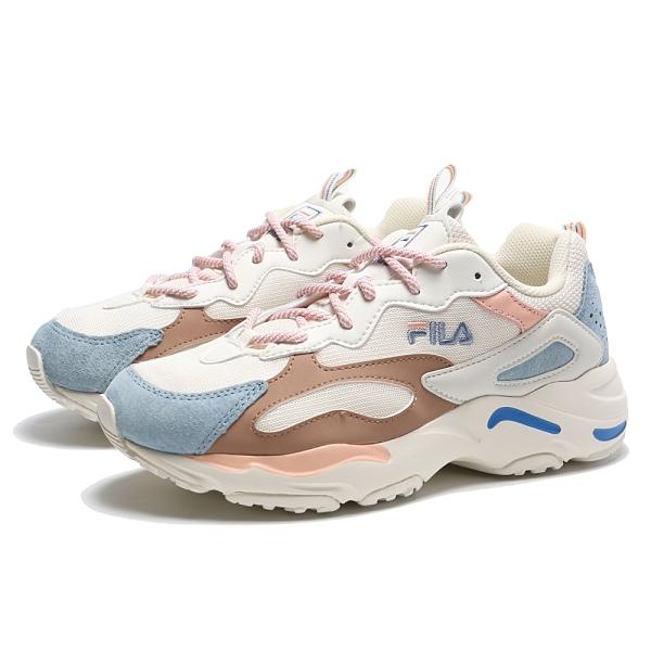 FILA 慢跑鞋 RAY TRACER 米白藍 粉咖 皮革 麂皮 拼接 BTS 休閒鞋 女 (布魯克林) 4C606U149