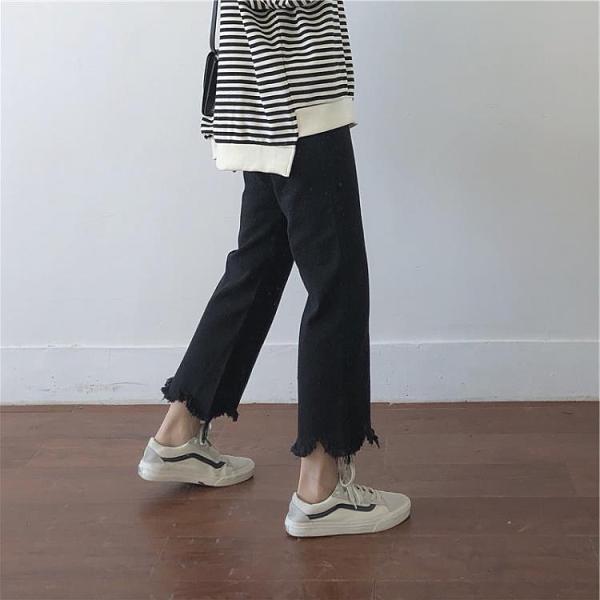 促銷特價 胖大碼泫雅風mm寬松顯瘦褲子女直筒牛仔褲百搭小個子腿粗梨形身材