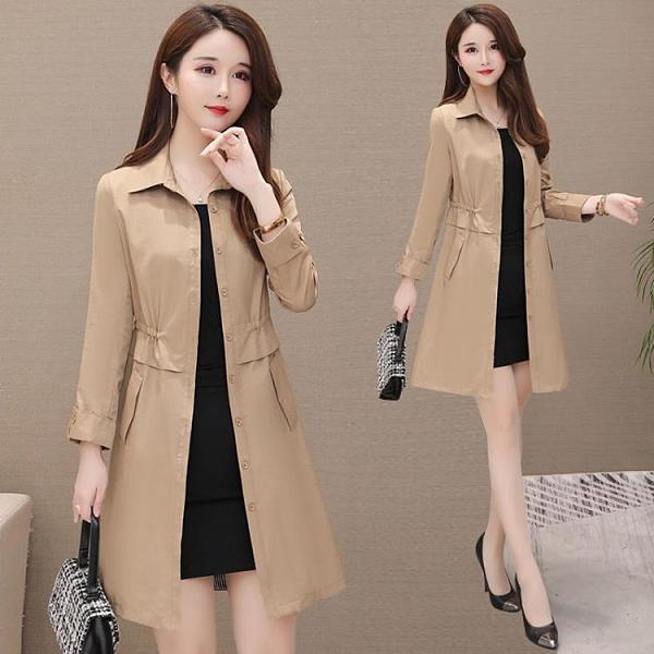 2010韓版風衣女中長款新款POLO領純色優雅修身收腰大碼顯瘦外套潮 快速出貨