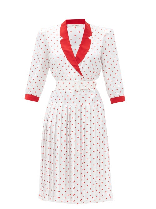 Rodarte - Belted Polka-dot Silk-satin Dress - Womens - Red White