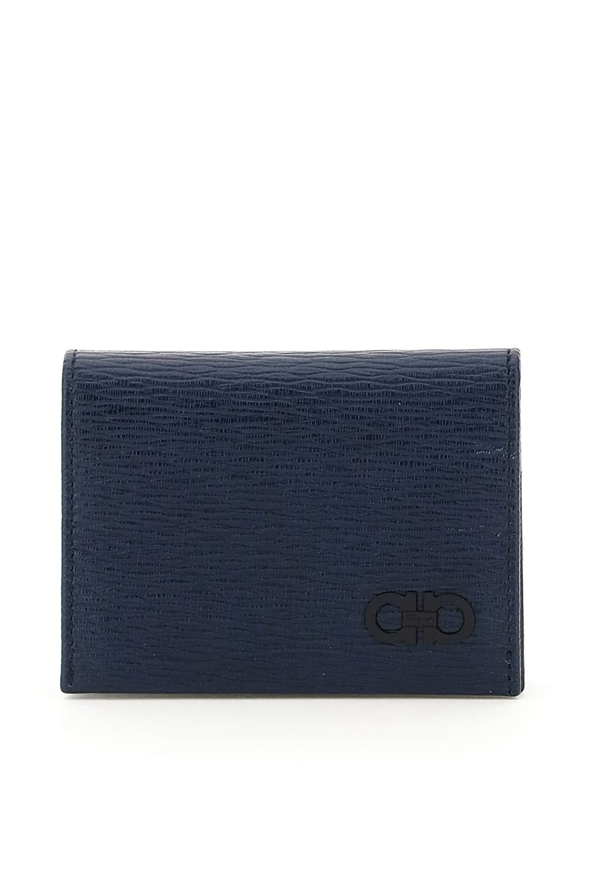 SALVATORE FERRAGAMO GANCINI CARD HOLDER OS Blue Leather