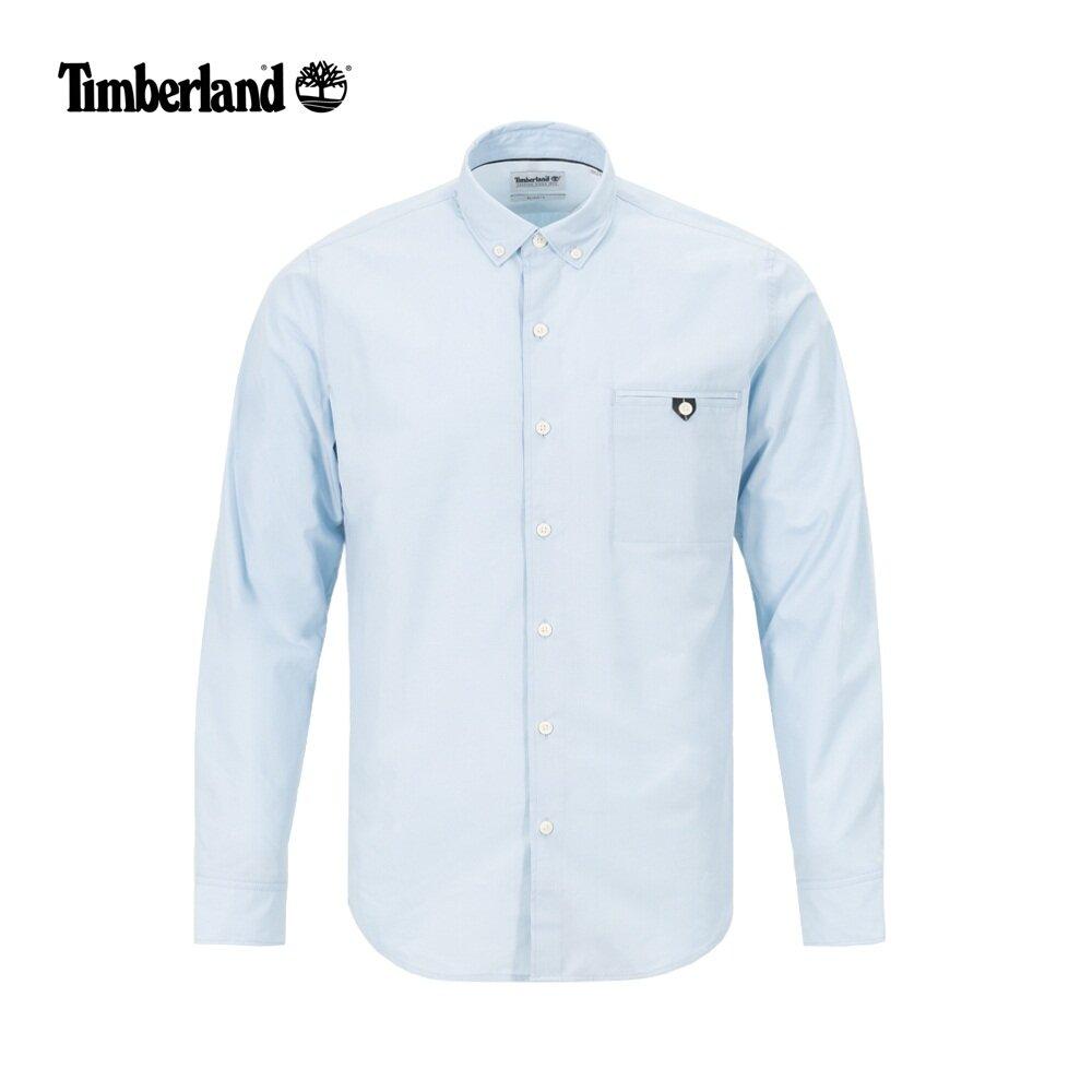 Timberland 男款修身長袖襯衫-天空藍