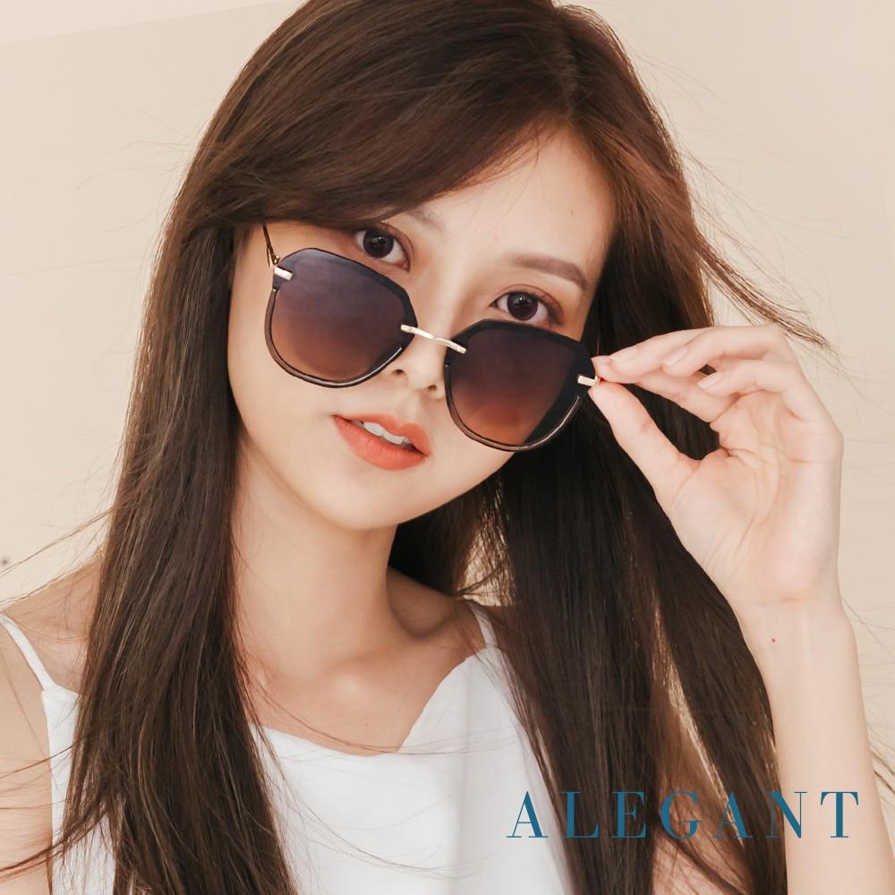ALEGANT法式浪漫流行拼接半框設計花草蜂蜜色墨鏡│UV400太陽眼鏡│米蘭秀場的聚焦處