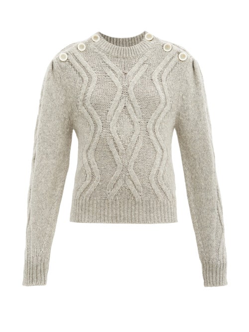 Isabel Marant - Devlyn Cable-knitted Alpaca-blend Sweater - Womens - Light Grey