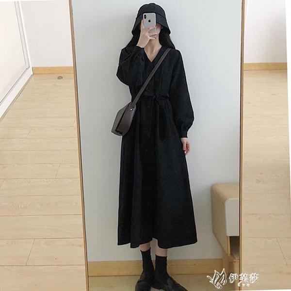 長袖洋裝 秋冬裝法式復古黑色長袖減齡收腰顯瘦赫本小黑裙氣質打底 【快速出貨】