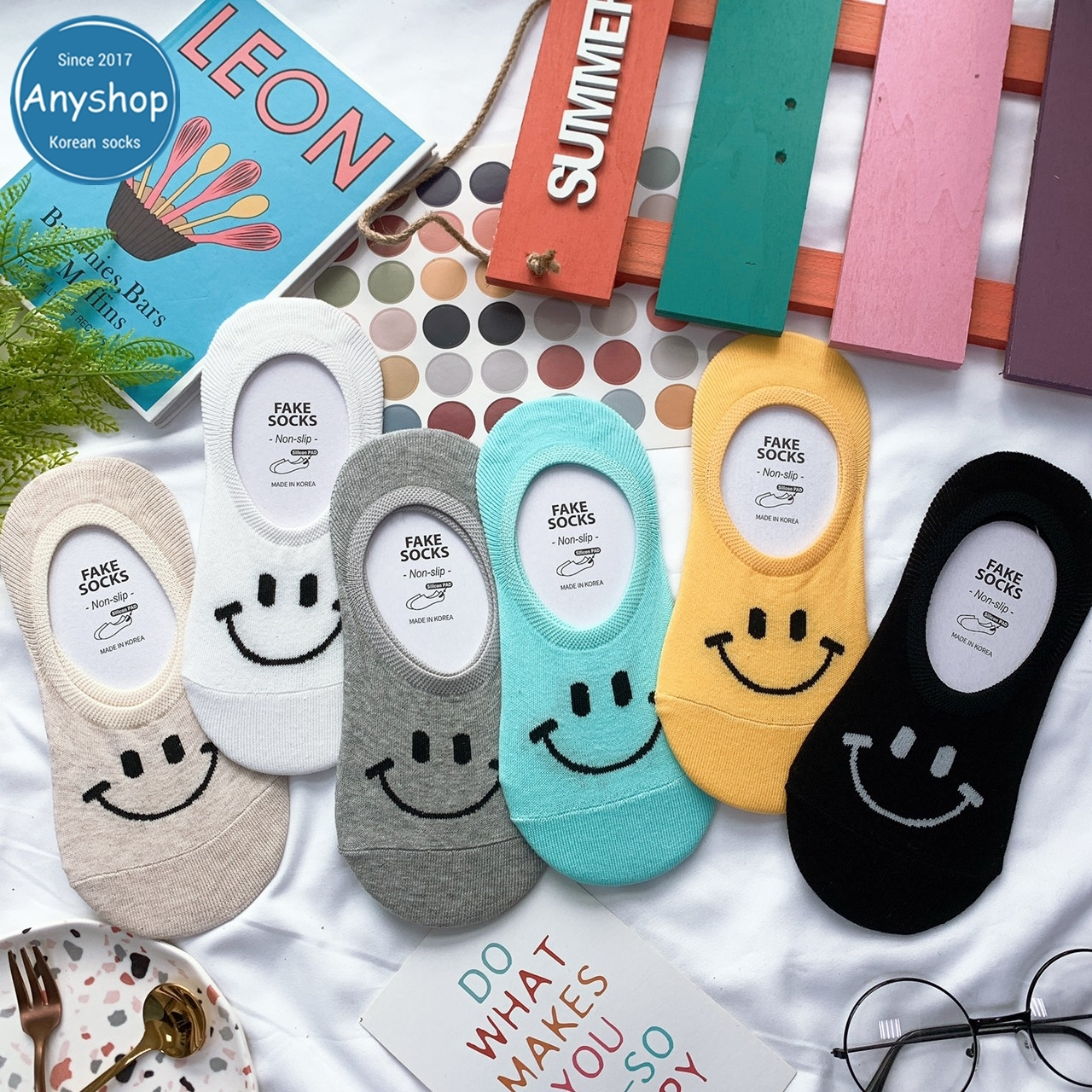 韓國襪-[Anyshop]微笑多彩船型襪