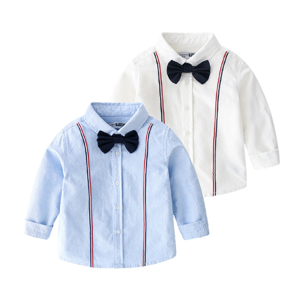 雙線條領結長袖襯衫 襯衫 男童 婚禮 喜宴 表演 花童 拍照 攝影 畢業典禮 兒童 童裝【p0061217568659】