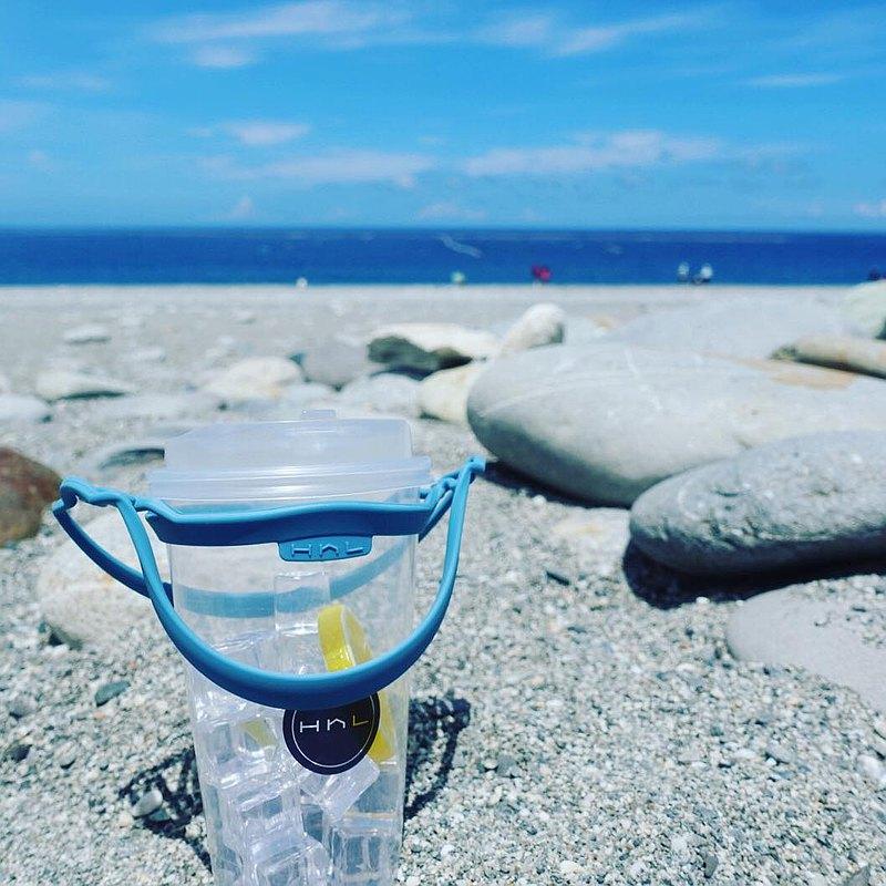 H h L【拎杯2.0】矽膠防水飲料提袋| 霧霾藍