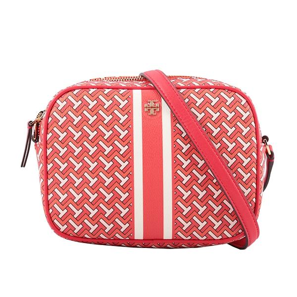 【TORY BURCH】PVC皮革條紋拼幾何圖案相機包(紅色) 64280 RED