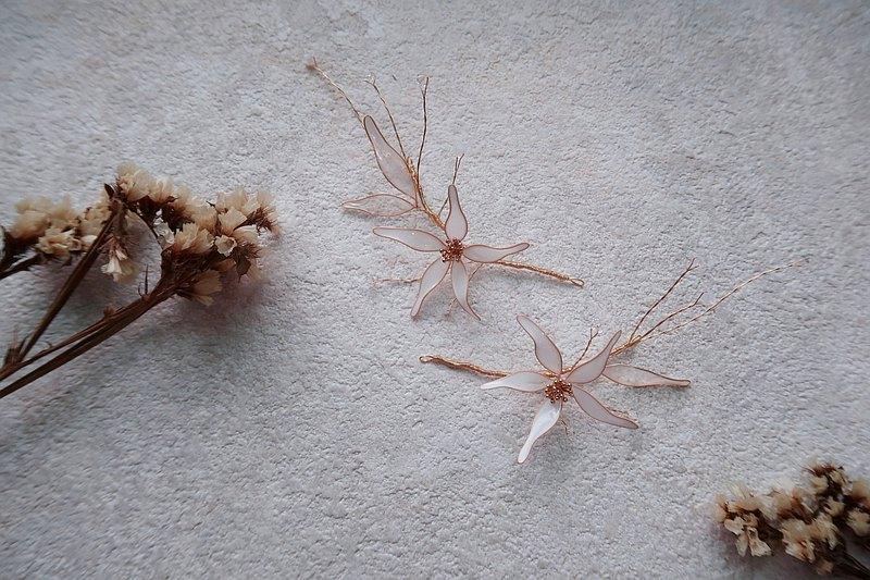 微美-兩件組頭飾 手作水晶花樹脂飾品 新娘頭飾/伴娘配飾