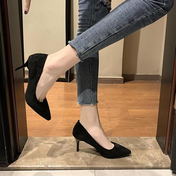 高跟鞋 黑色高跟鞋女年新款細跟尖頭流行工作職業夏百搭性感少女禮儀 萬聖節狂歡