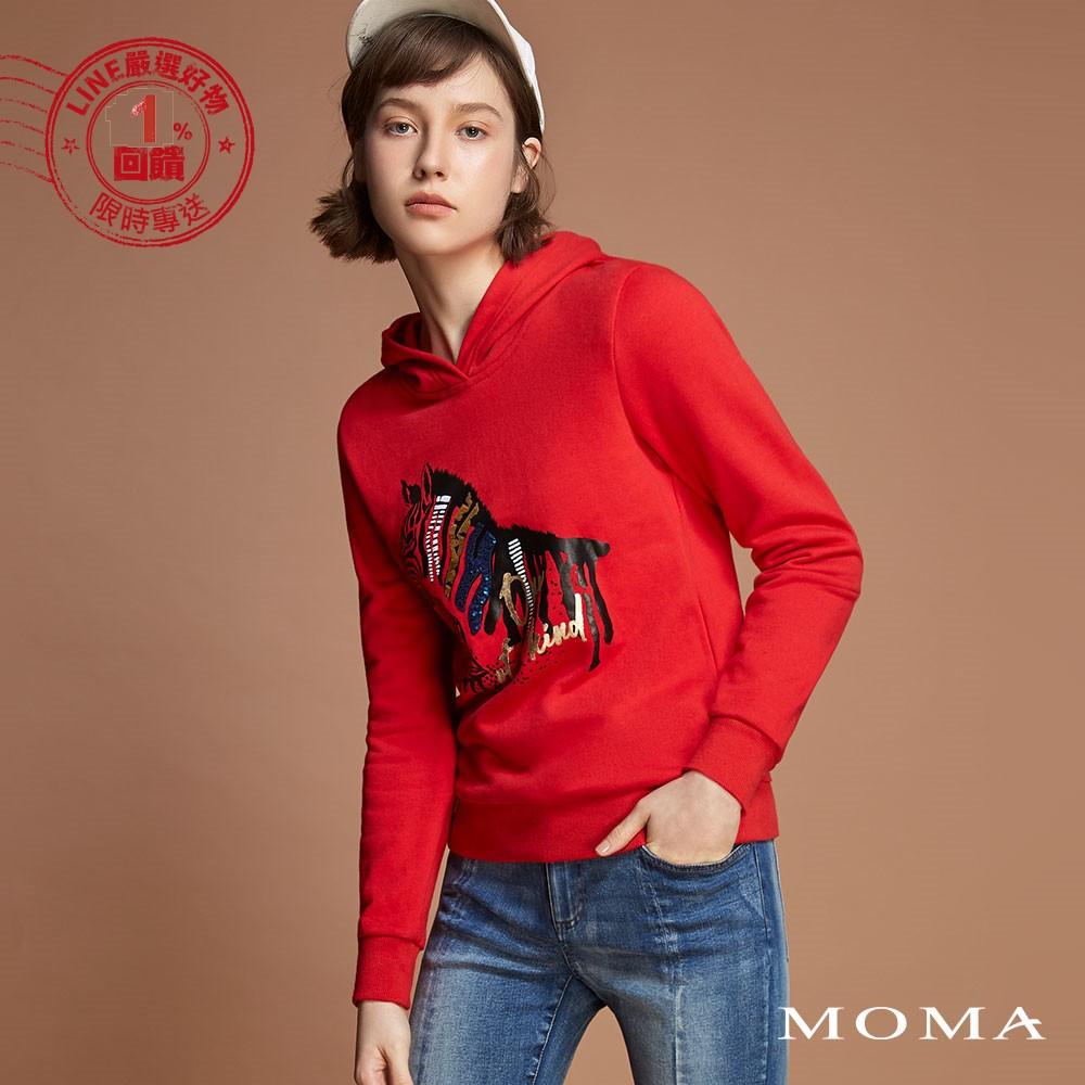 MOMA(92M029)斑馬亮片印花帽T