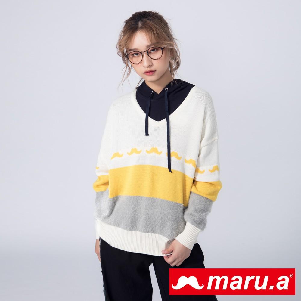 maru.a (99)色塊拼接顯瘦落肩羊毛針織上衣(黃色)