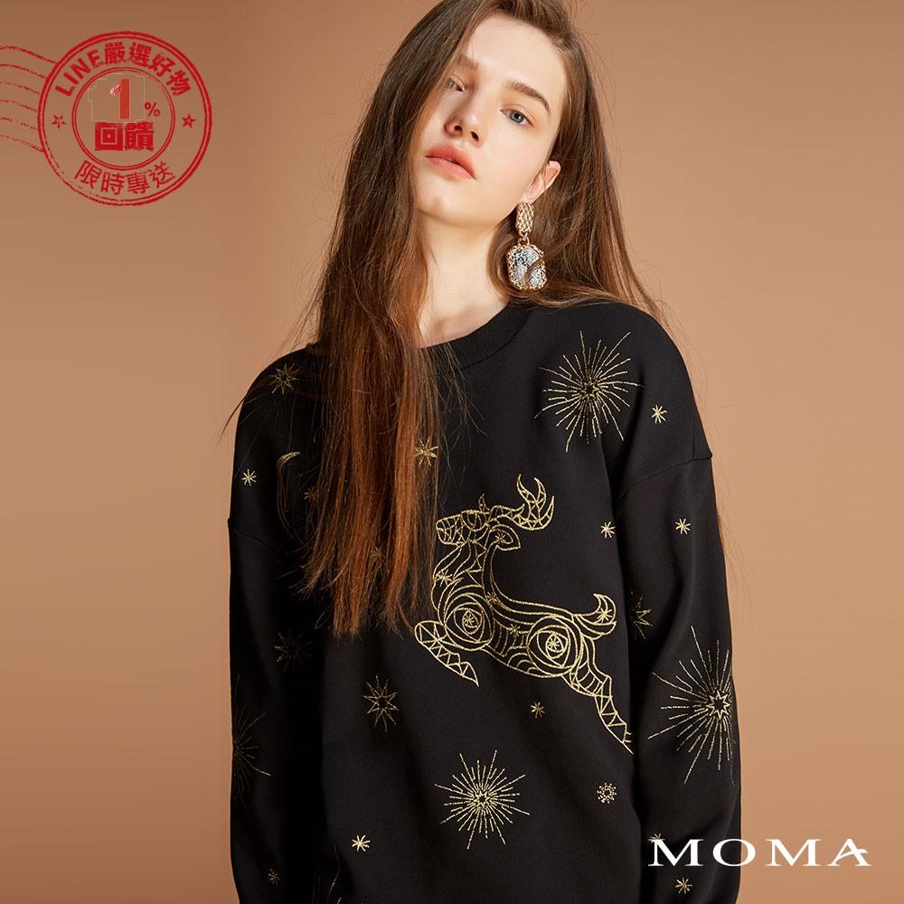 MOMA(92M049)夜空麋鹿長版衛衣