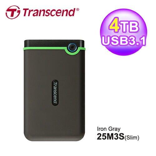 【Transcend 創見】4TB 薄型行動硬碟 TS4TSJ25M3S 鐵灰色【三井3C】