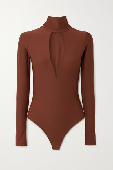 Alix NYC - Hewlett 挖剪弹力平纹布连体紧身衣 - 棕色 - large
