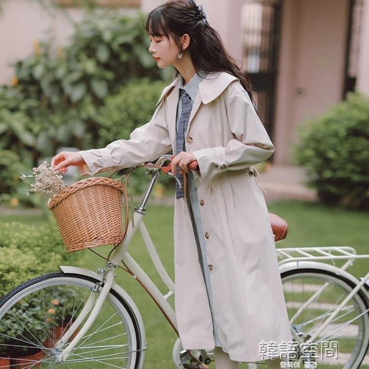 風衣 溫柔設計感風衣外套女裝秋季2020年新款爆款小個子顯高大衣中長款 韓語空間