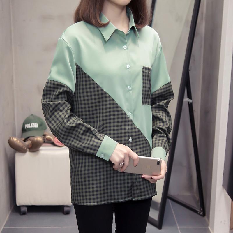 M-4XL大尺碼衣著 秋冬新款拼色長袖襯衫女