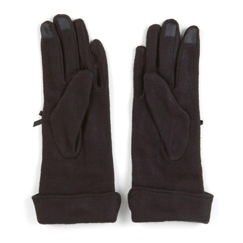 【領券折$30】小禮堂 酷洛米 成人造型棉質手套 觸控手套 保暖手套 (黑 2020冬日特輯)
