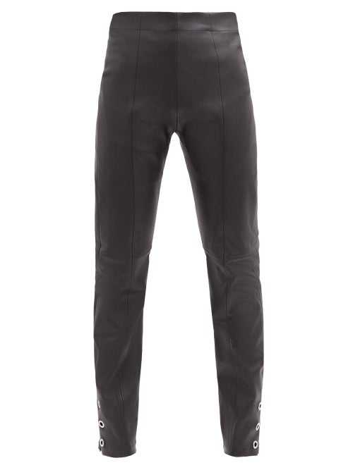 Ludovic De Saint Sernin - High-rise Eyelet Zip-cuff Leather Trousers - Womens - Black