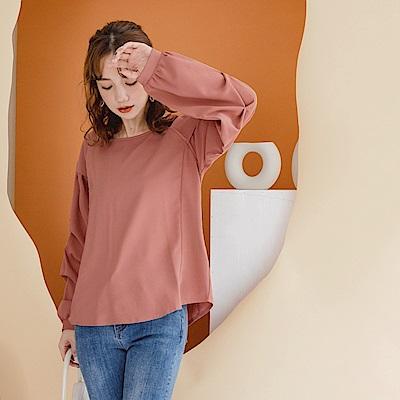 質感純色拼接打褶泡泡袖上衣-OB嚴選