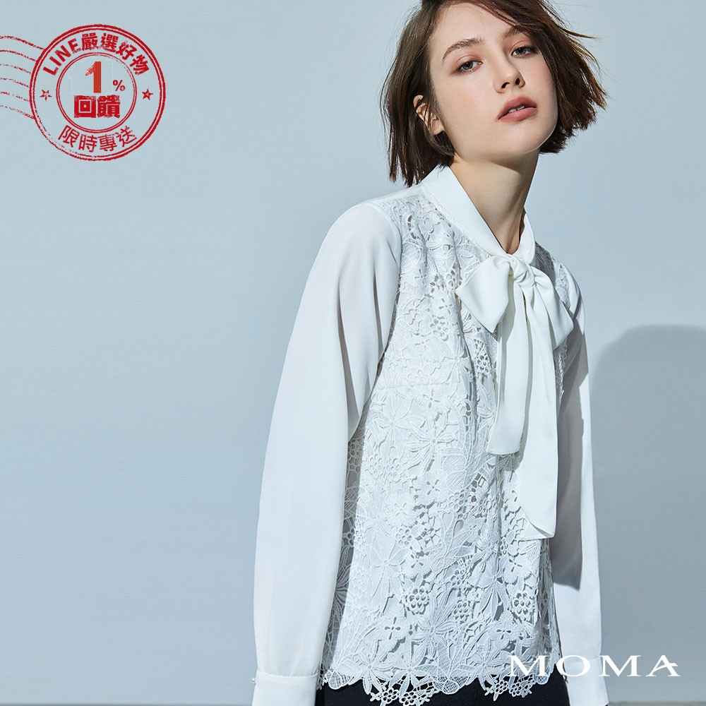 MOMA(92G011)蕾絲雪紡綁帶上衣