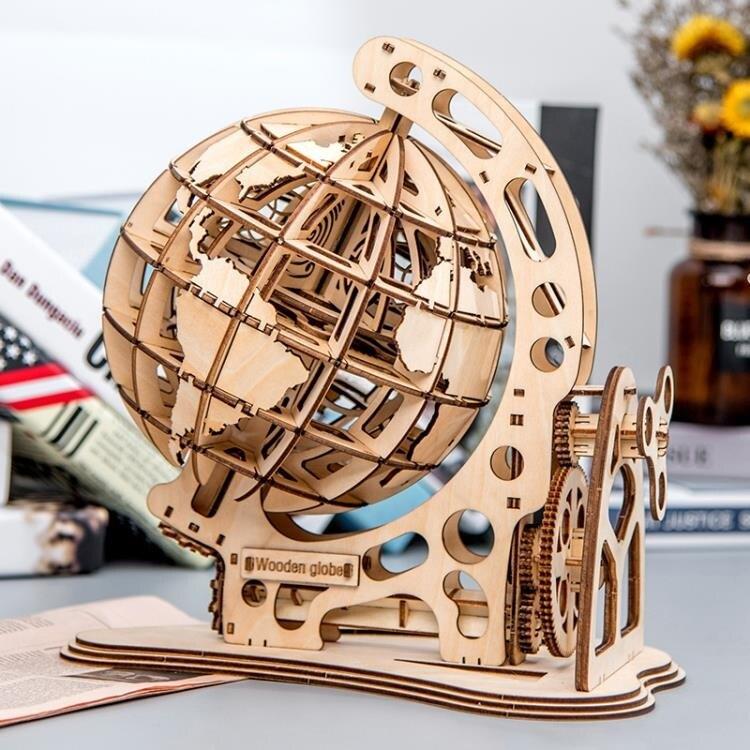 手動3D拼裝玩具DIY手工仿真木質傳動機械辦公室擺件模型裝飾品