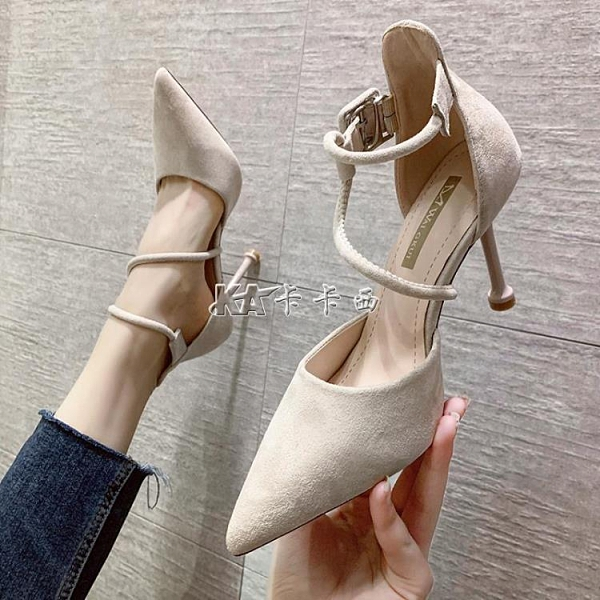 女鞋新款淺口高跟鞋女高跟鞋晚晚風溫柔一字扣帶細跟黑色鞋【全館免運】