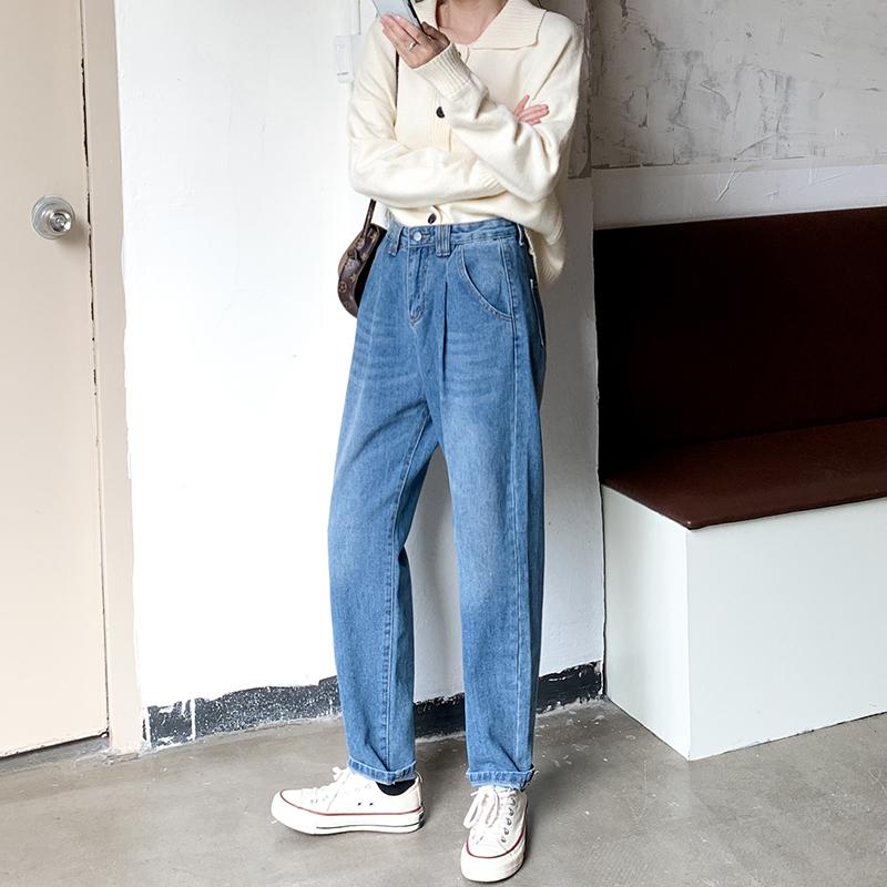 M-4XL大尺碼衣著 牛仔褲女秋裝2020年新款顯瘦寬鬆直筒褲高腰胖妹妹mm褲子
